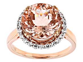 Pre-Owned Cor-De-Rosa Morganite ™ 4.50ct Round With .42ctw Round White Sapphire 10k Rose Gold Ring
