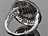 Pre-Owned Black Spinel Sterling Silver Ring 3.45ctw.
