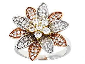 Pre-Owned White Cubic Zirconia Rhodium And 18k Rg And Yg Over Sterling Silver Ring 1.89ctw