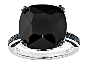 Pre-Owned Black Spinel Rhodium Over Sterling Silver Ring 13.53ctw