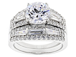 Pre-Owned White Cubic Zirconia Rhodium Over Sterling Silver Ring With Band 7.10ctw