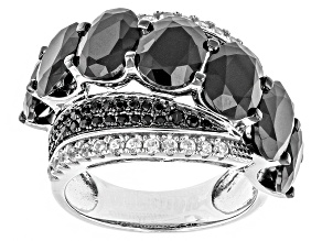 Pre-Owned Black Spinel And White Zircon Sterling Silver Ring 7.78ctw