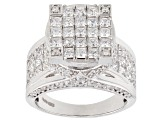 Pre-Owned White Cubic Zirconia Rhodium Over Sterling Silver Ring 11.65ctw