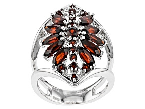 Pre-Owned Red Garnet Sterling Silver Ring 3.33ctw