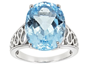 Pre-Owned Sky Blue Topaz Rhodium Over Sterling Silver Solitaire Ring 12.00ct