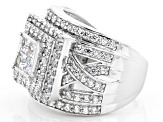 Pre-Owned White Cubic Zirconia Rhodium Over Sterling Silver Ring 4.05ctw