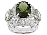 Pre-Owned Green Moldavite Sterling Silver Ring 7.40ctw