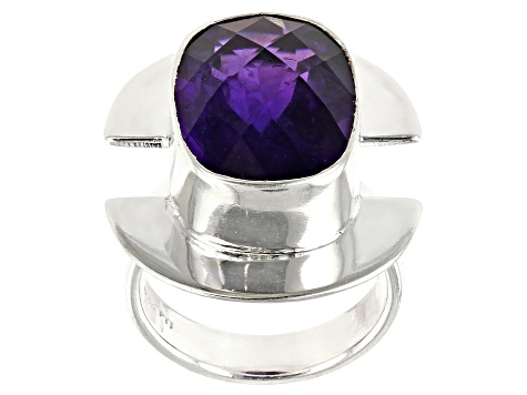 Pre-Owned Purple Amethyst Sterling Silver Ring 9.00ct