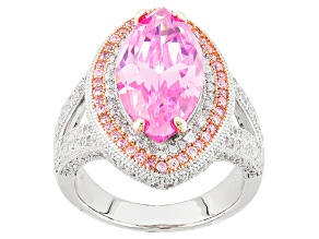 Pre-Owned Pink And White Cubic Zirconia Rhodium Over Silver And 18k Rg Over Silver Ring 11.04ctw