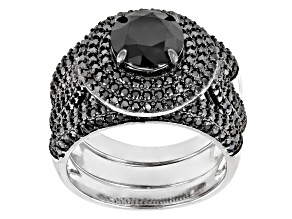 Pre-Owned Black Spinel Sterling Silver 3 Ring Set 4.78ctw