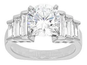 Pre-Owned Cubic Zirconia Rhodium Over Sterling Silver Ring 4.52ctw