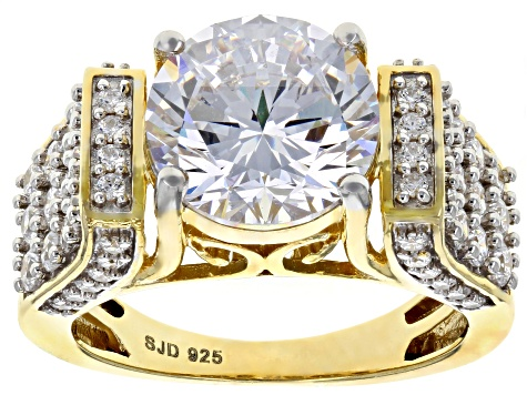 Pre-Owned Cubic Zirconai 18k Yellow Gold Over Silver Ring 8.76ctw (4.80ctw DEW)