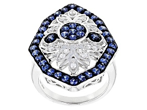 Pre-Owned Blue And White Cubic Zirconia Rhodium Over Sterling Silver Ring 3.05ctw