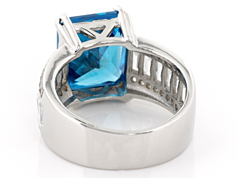 Pre-Owned Blue And White Cubic Zirconia Rhodium Over Sterling Silver Ring 13.82ctw