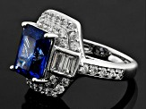 Pre-Owned Blue And White Cubic Zirconia Rhodium Over Sterling Silver Ring 8.36ctw