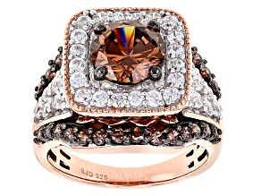 Pre-Owned Mocha And White Cubic Zirconia 18k Rose Gold Over Sterling Silver Ring 7.29ctw
