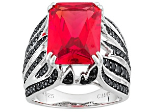 Pre-Owned Orange Lab Created Padparadscha Sapphire Silver Ring 8.34ctw