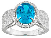 Pre-Owned Blue And White Cubic Zirconia Rhodium Over Silver Ring 5.30ctw