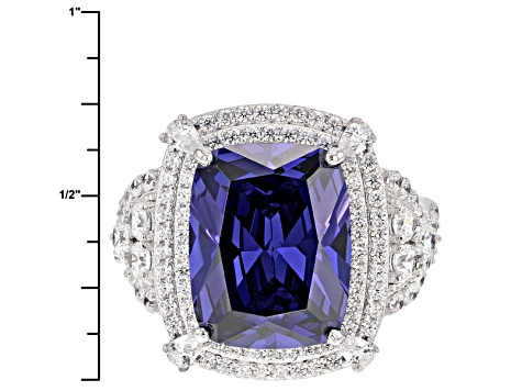 Pre-Owned Blue And White Cubic Zirconia Silver Ring 15.69ctw