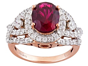 Pre-Owned Synethetic Red Corundum And White Cubic Zirconia 18k Rose Gold Over Silver Ring 4.95ctw