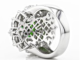Pre-Owned Green And White Cubic Zirconia Rhodium Over Sterling Silver Ring 9.00ctw