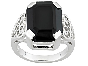 Pre-Owned Black Spinel Sterling Silver Solitaire Ring 10.80ct