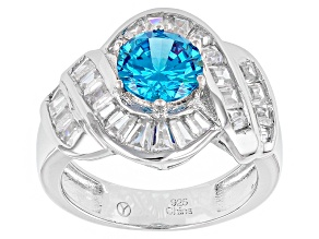 Pre-Owned Blue And White Cubic Zirconia Rhodium Over Silver Ring 5.15ctw