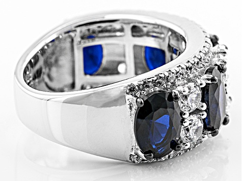 Pre-Owned Blue And White Cubic Zirconia Rhodium Over Silver Ring 5.89ctw