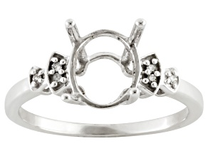 Pre-Owned 9x7mm Oval 10k White Gold Semi Mount Ring .02ctw