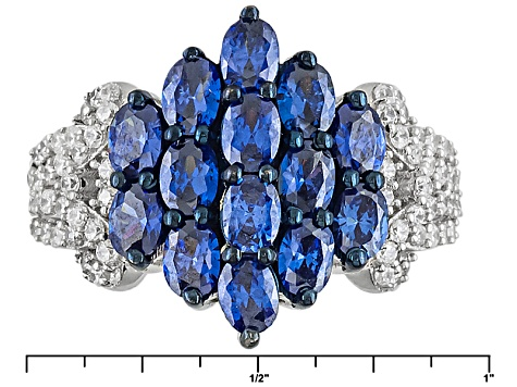 Pre-Owned Blue And White Cubic Zirconia Silver Ring 5.46ctw