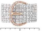 Pre-Owned White Cubic Zirconia Silver And 18k Rose Gold Over Sterling Silver Ring 5.16ctw