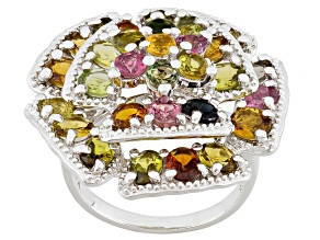 Pre-Owned Multi-Color Tourmaline Sterling Silver Ring. 4.61ctw