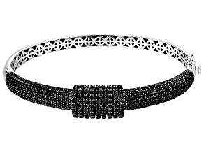 Pre-Owned Black Spinel Sterling Silver Bangle Bracelet 8.32ctw