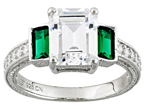 Pre-Owned Green And White Cubic Zirconia Rhodium Over Sterling Silver Ring 4.65ctw