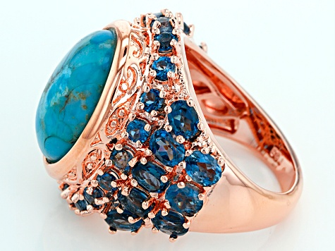 Pre-Owned Copper Turquoise Ring 5.01ctw