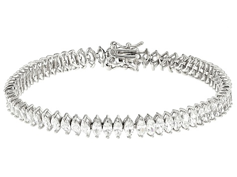 Pre-Owned White Cubic Zirconia Rhodium Over Silver Bracelet 16.30ctw