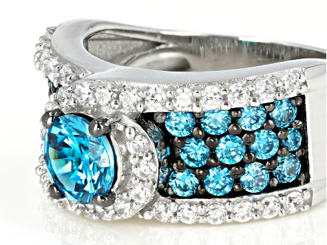 Pre-Owned Blue And White Cubic Zirconia Silver Ring 3.78ctw