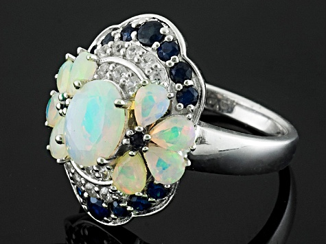 Pre-Owned Ethiopian Opal Sterling Silver Ring 2.37ctw