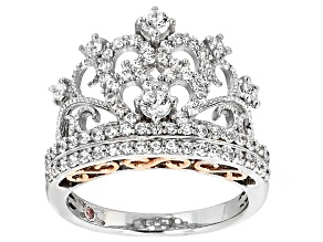 Pre-Owned Cubic Zirconia Silver And 18k Rose Gold Over Silver Crown Ring 1.66ctw (.73ctw DEW)