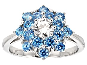 Pre-Owned Blue And White Cubic Zirconia Rhodium Over Sterling Silver Ring 3.00ctw
