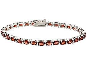 Pre-Owned Red Garnet Sterling Silver Tennis Bracelet 15.95ctw