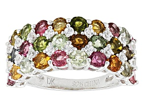 Pre-Owned Multi-Color Tourmaline And White Zircon Sterling Silver Ring. 3.95ctw