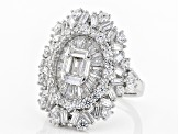 Pre-Owned White Cubic Zirconia Rhodium Over Sterling Silver Ring 6.14ctw