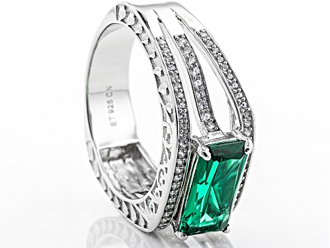 Pre-Owned Green And White Cubic Zirconia Rhodium Over Sterling Silver Ring 6.03ctw