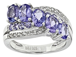 Pre-Owned Blue Tanzanite Sterling Silver Crossover Ring 2.43ctw