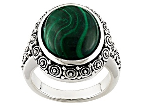 Pre-Owned Green Malachite Sterling Silver Solitaire Ring
