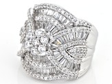 Pre-Owned White Cubic Zirconia Rhodium Over Sterling Silver Ring 5.60ctw
