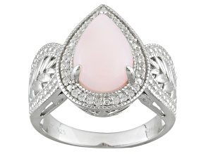 Pre-Owned Pink Peruvian Opal Sterling Silver Ring .15ctw