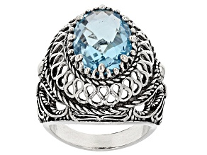 Pre-Owned Sky Blue Topaz Sterling Silver Ring 4.50ct