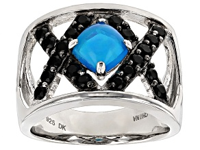Pre-Owned Blue Ethiopian Opal And Black Spinel Sterling Silver Ring 1.46ctw